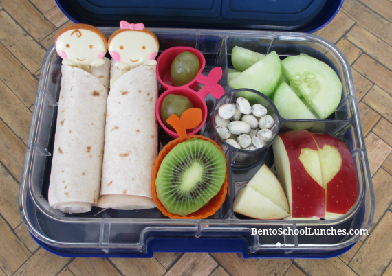 Tortilla roll-ups, babies in blankets bento school lunch