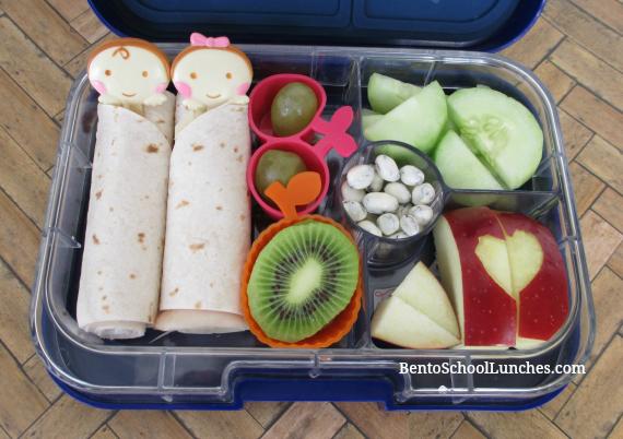 Tortilla roll-ups, babies in blankets bento school lunch