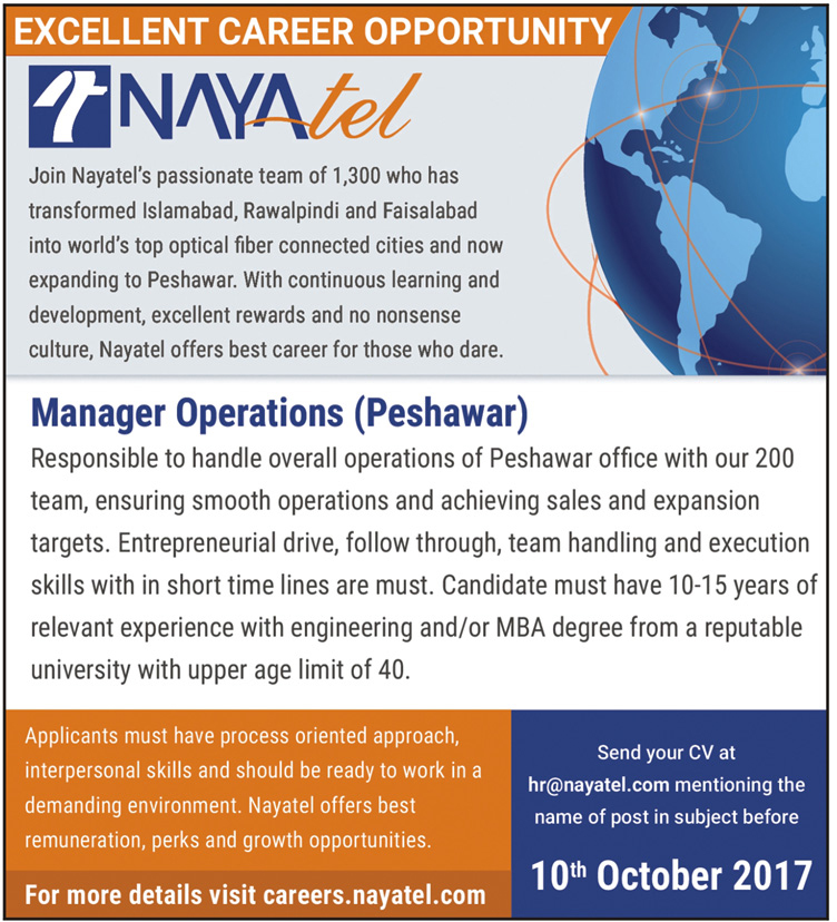 Managers Operation Jobs In Nayatel Peshawar Oct 2017