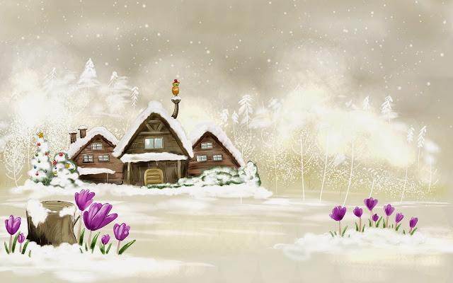 Kerst tekening met huizen en bloemen