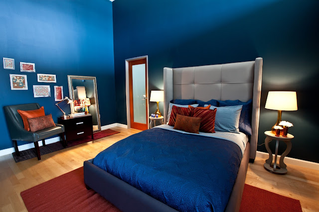 awesome blue bedroom combined with blue accent wall and cool double bed with nice gray headboard