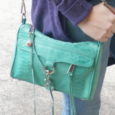 Aquamarine Rebecca Minkoff mini MAC bag | AwayFromTheBlue blog