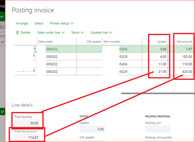 add total quantity and total net amount in while posting invoice or delivery note in sales order