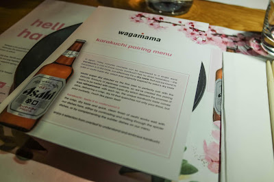 Karakuchi Pairing Menu with Wagamama & Asahi Beer on Typewriter Teeth Menu