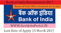 Bank of India Recruitment 2017–Faculty, Office Assistant & Attendant