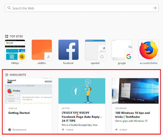 Firefox 57 Highlights Remove From New Tab