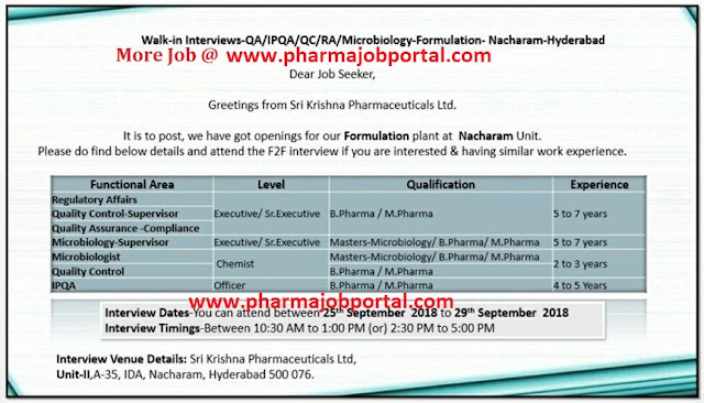 Sri Krishna Pharmaceuticals Ltd Walk In For Quality Assurance, Quality Control, Microbiology, IPQA, Regulatory Affairs at 25 to 29 Sep.