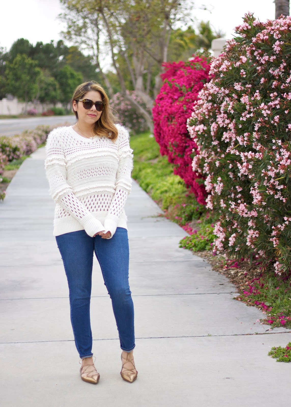 Fringe Sweater and Jeans, Banana republic sweater, spring sweater 2016, jeans outfit, san diego style
