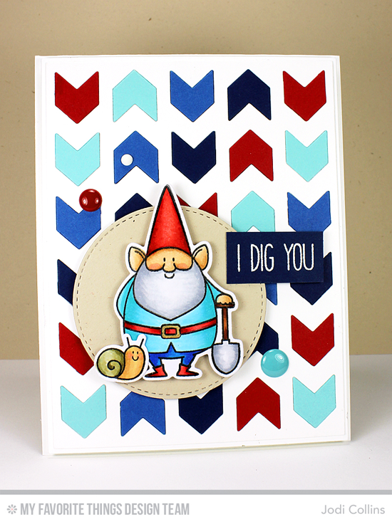 Handmade card from Jodi Collins featuring Birdie Brown You Gnome Me stamp set and Die-namics, Chunky Chevron Cover-Up and Blueprints 2 Die-namics #mftstamps