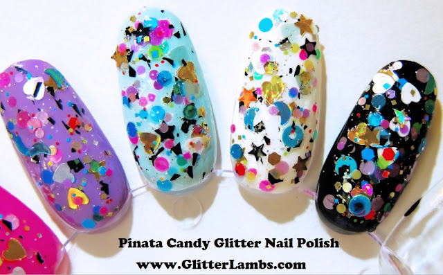 Custom Handmade Indie Nail Polish Lacquer- Shapes, Hearts, Stars, Moons, Circles, Dots, Donuts, Holographic