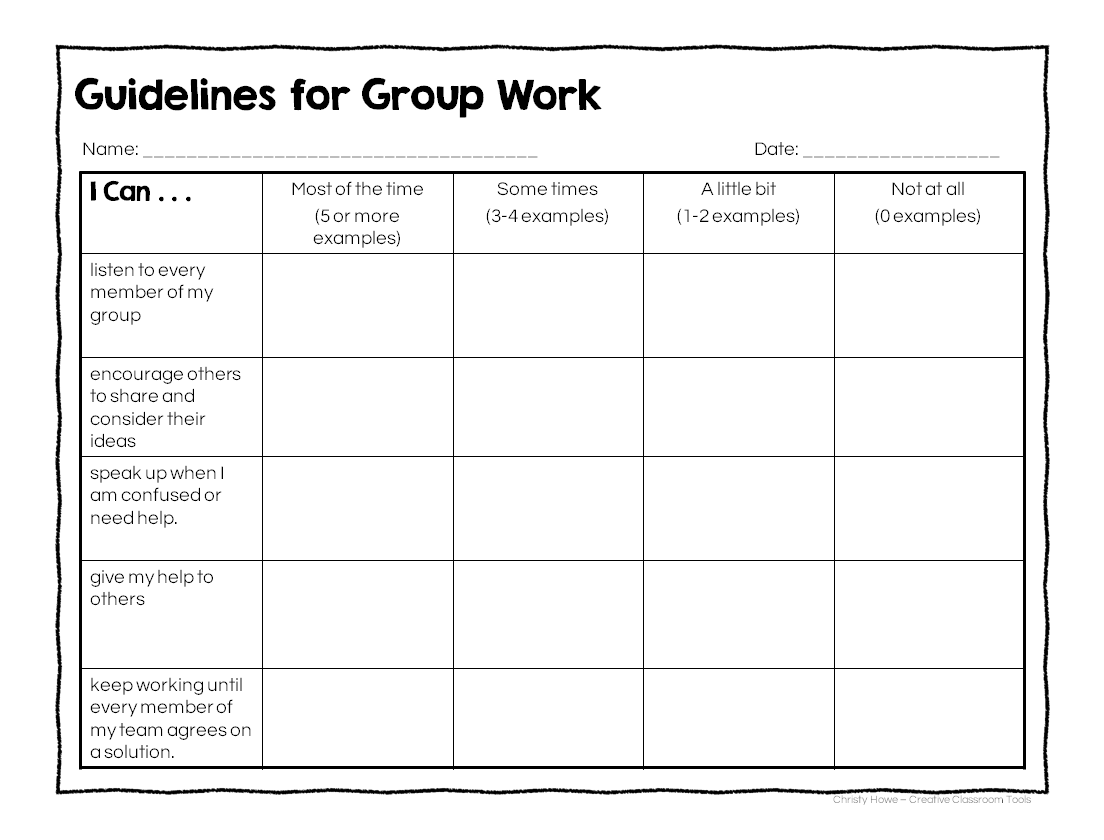 Rubric For Group Work 98