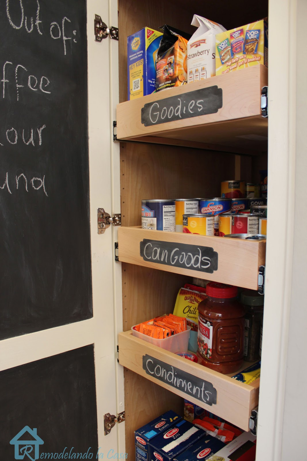 Chalkboard in door pantry