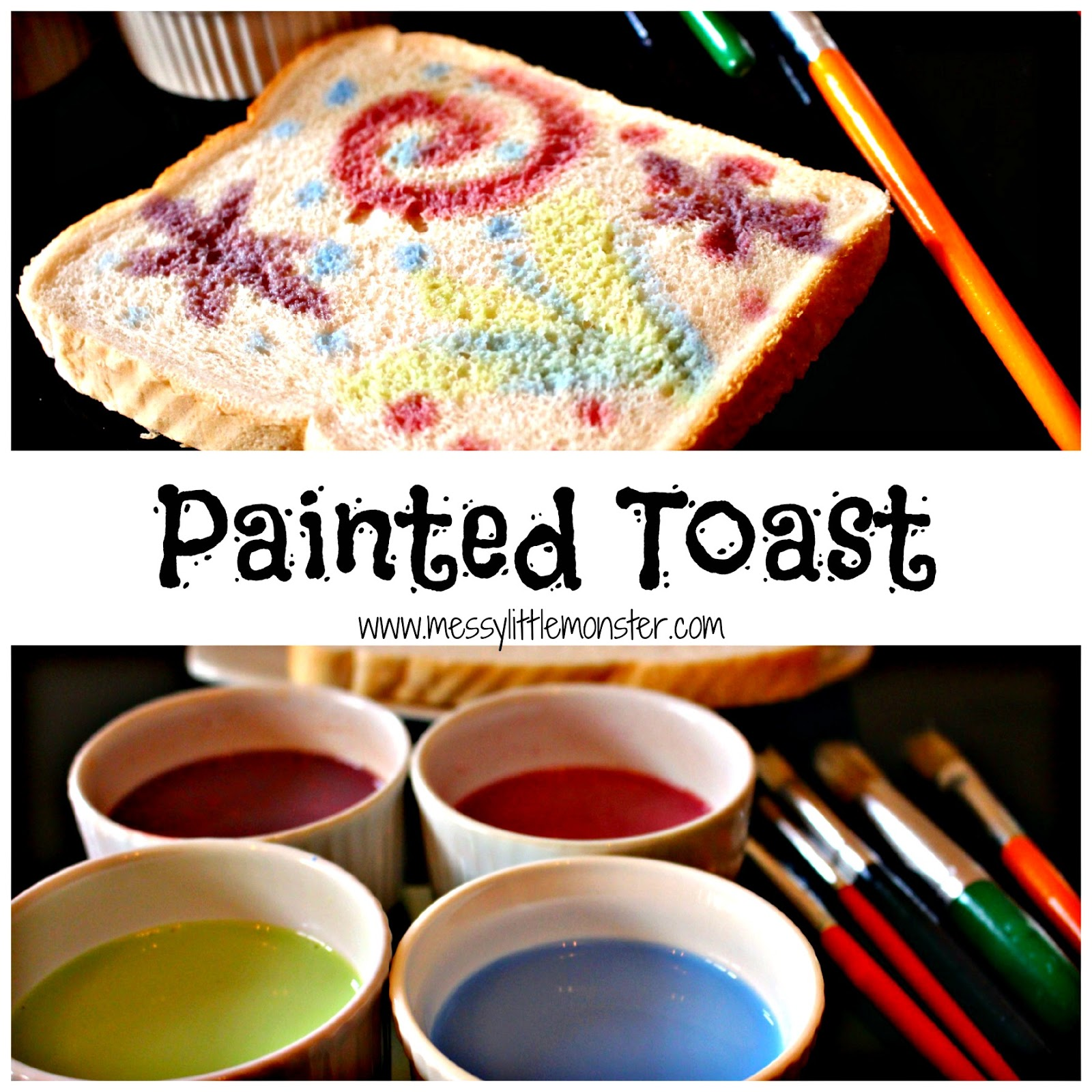 Painted firework toast activity to celebrate new years eve or bonfire night.  A simple edible paint recipe.