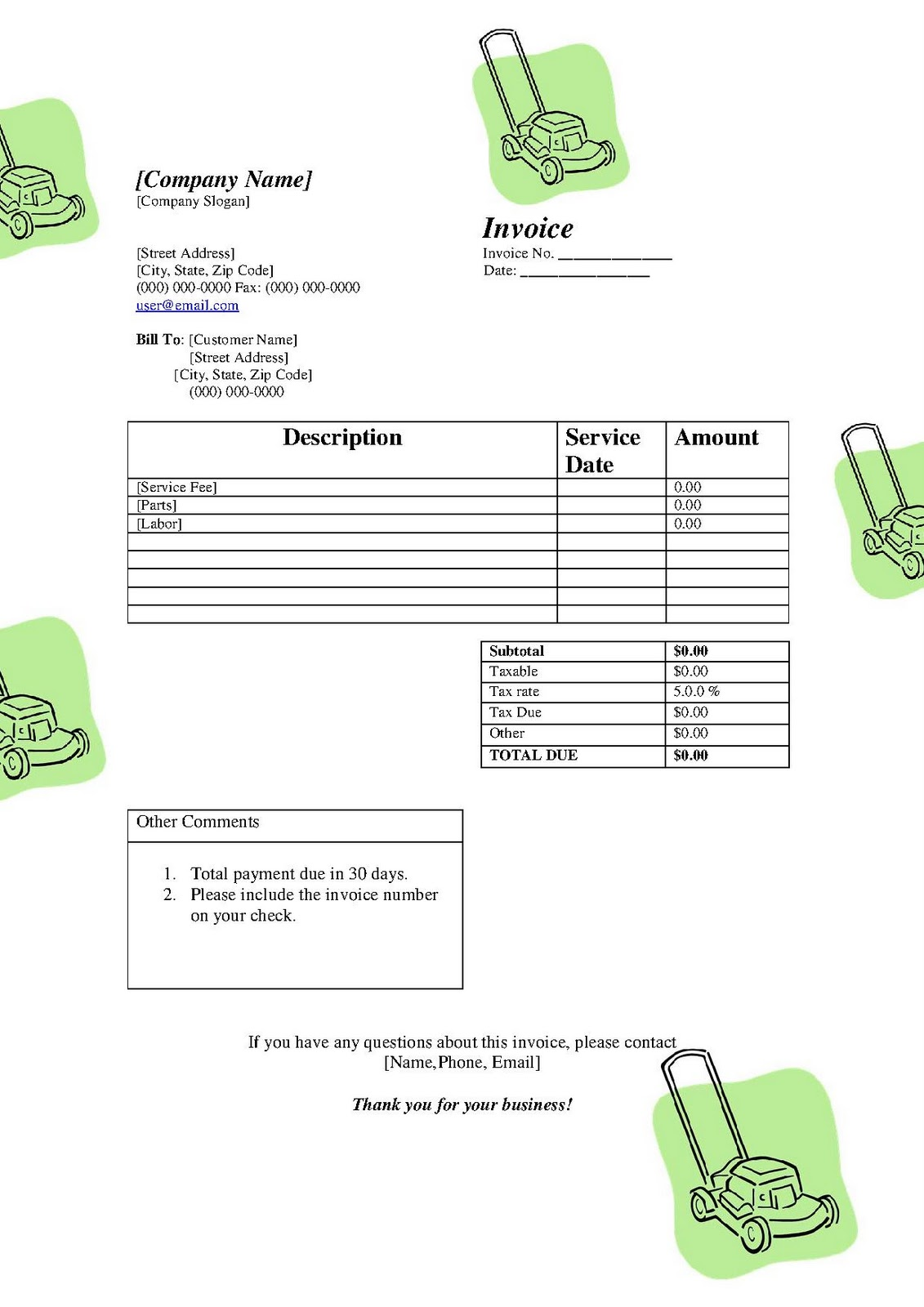 free printable templates  free lawn service lanscaping