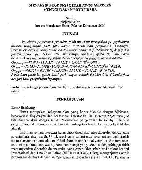 Menaksir Produksi Getah Pinus Merkusii Menggunakan Foto Udara [Paper]