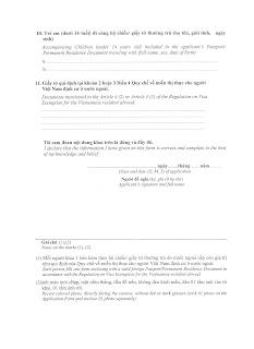 Application Form for Vietnam visa exemption - page 2