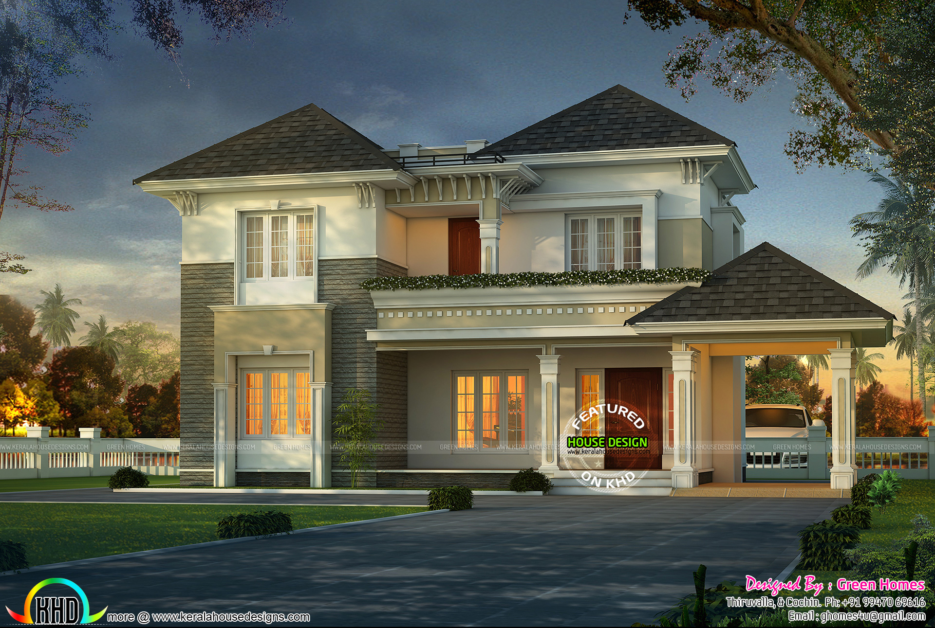 stylish and elegant home design in grey roof - Stylish Home Designs