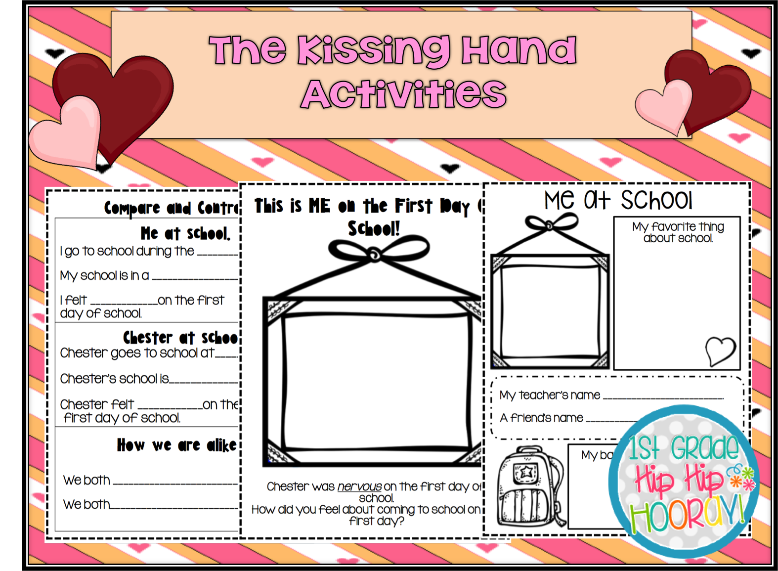 1st Grade Hip Hip Hooray The Kissing Hand Aft And Activities