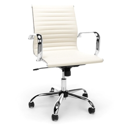 Cream Leather Conference Chair with Ribbed Back