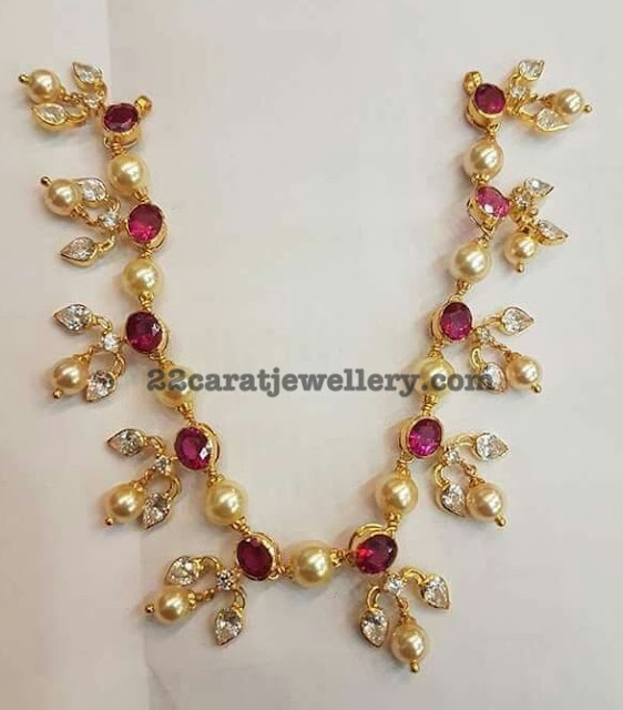 20 Grams Simple Ruby Pearls and Cz Set