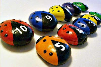 painted rocks, ladybugs, teaching colors, teaching numbers, Cindy Thomas