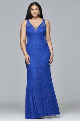 Blue Lace Plus Size Evening Dress with Illusion Sides