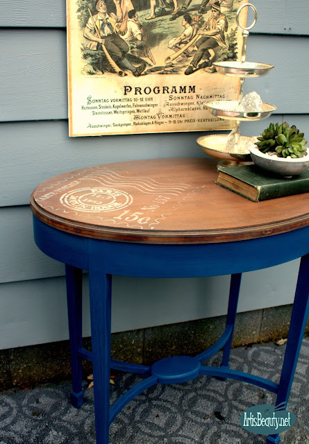 french vintage carte postal moulin rouge stencil table top makeover diy paint stain finish before and after karin chudy