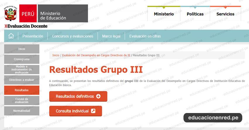 MINEDU: Resultados Evaluación Desempeño Cargos Directivos de Institución Educativa de Educación Básica 2019 (Grupo III) www.minedu.gob.pe