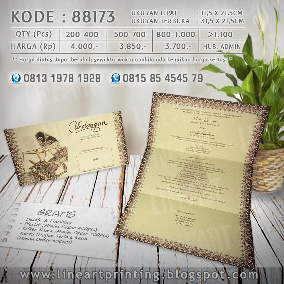 Lineart Printing Harga Undangan Kartu Kode Blangko 88187 88173