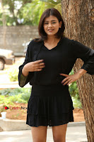 Actress Hebah Patel Stills in Black Mini Dress at Angel Movie Teaser Launch  0045.JPG