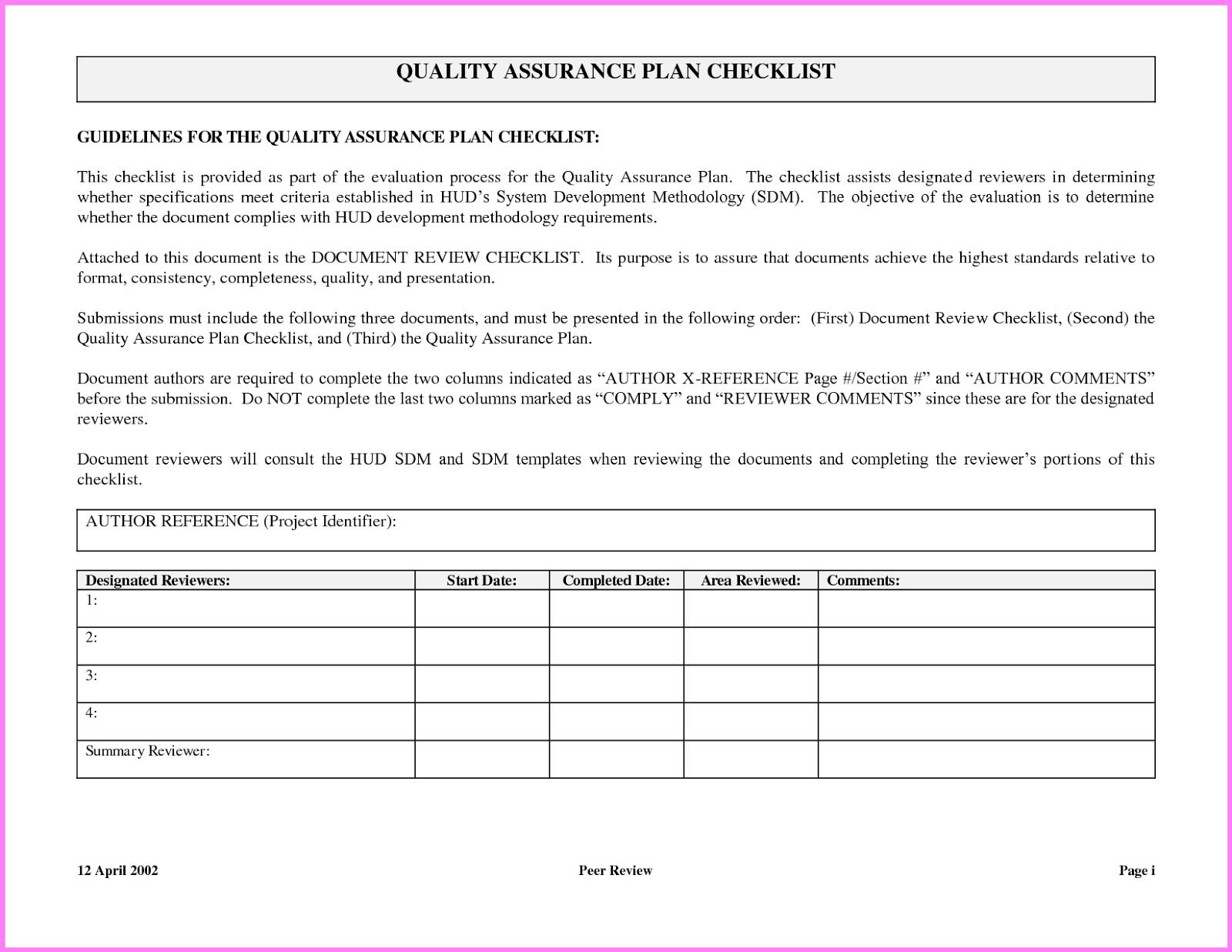 quality assurance plan example - Khafre