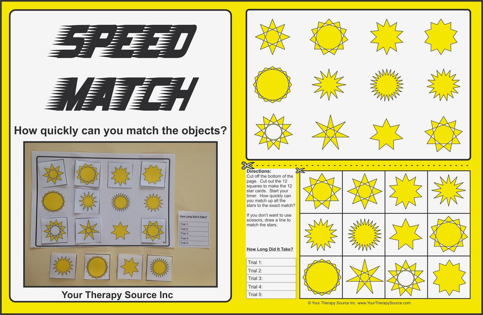 Speed Match Freebie Your Therapy Source