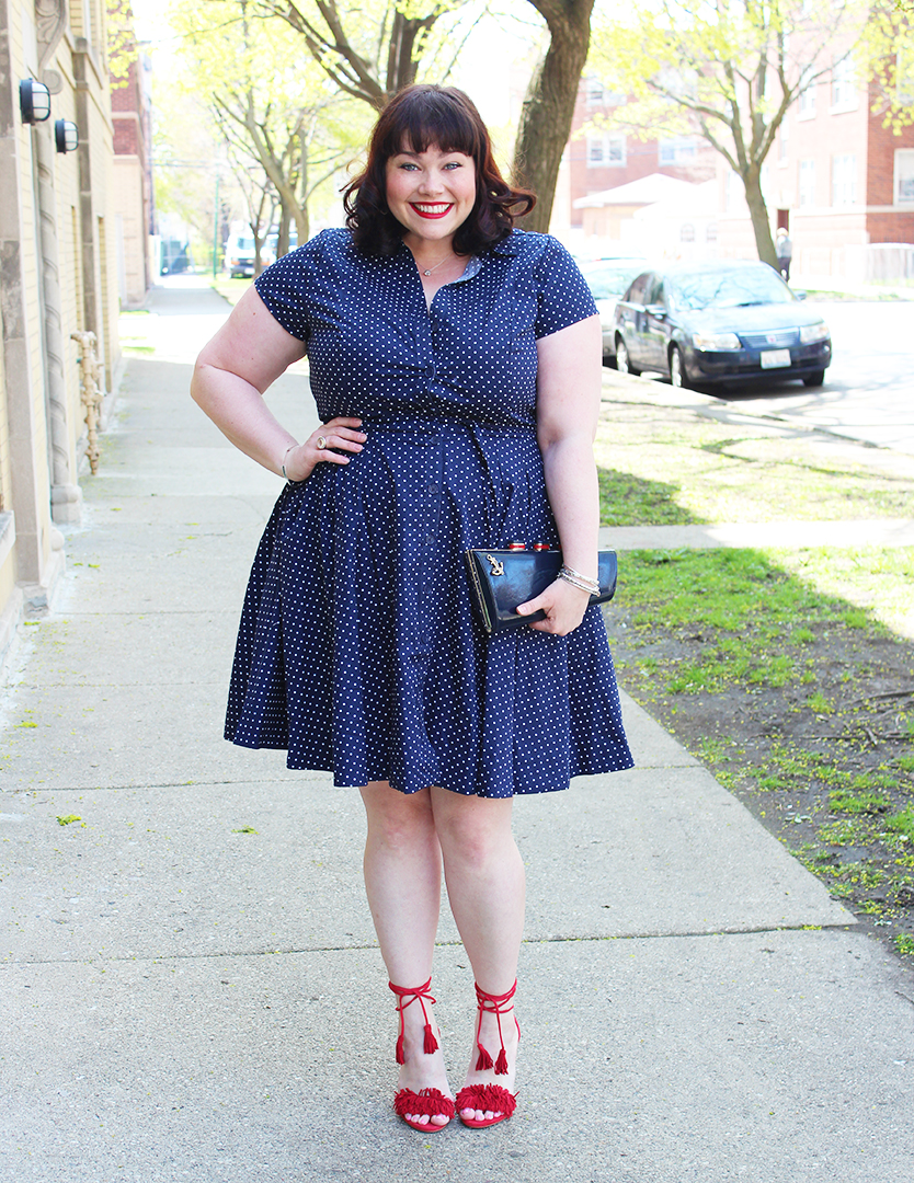 Plus Size blog, plus size blogger Amber, Style Plus Curves, shirtdress, summer style, plus size dress, polka dots, and red fringe sandals