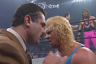 WCW Uncensored 1998 - Curt Hennig consults Rick Rude before facing Bret 'The Hitman' Hart