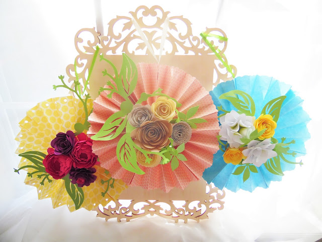 Diy Paper Rosette Hanging Fan With Decorative Paper Flowers Abbi