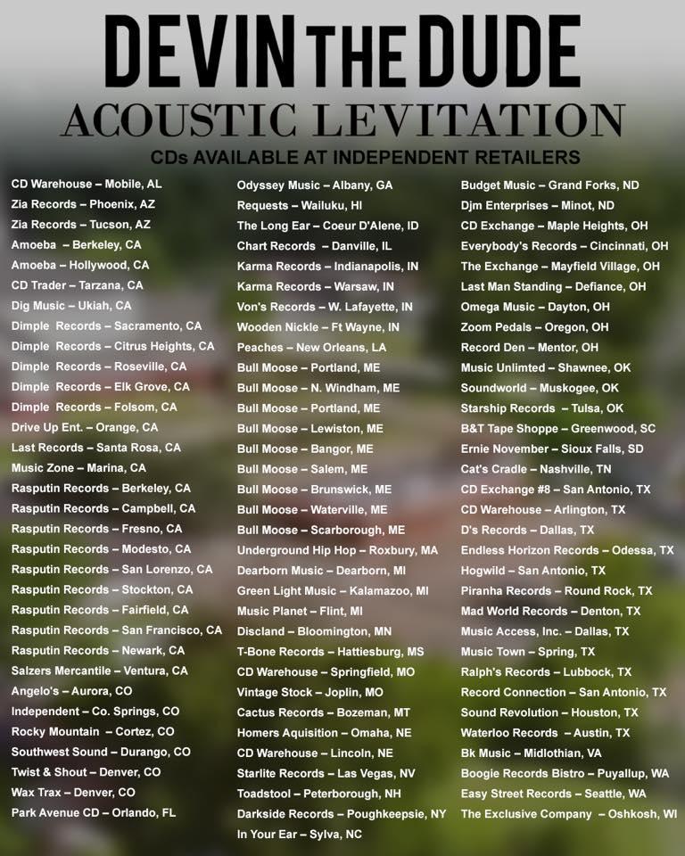 Devin The Dude Acoustic Levitation Tour Dates