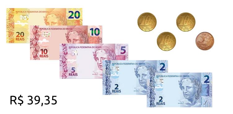 Números decimais em unidades monetárias