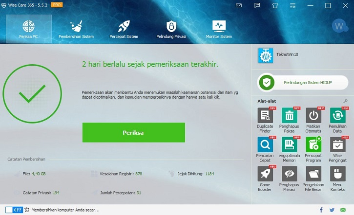 Wise Care 465 Pro dengan tema TeknoWin10A
