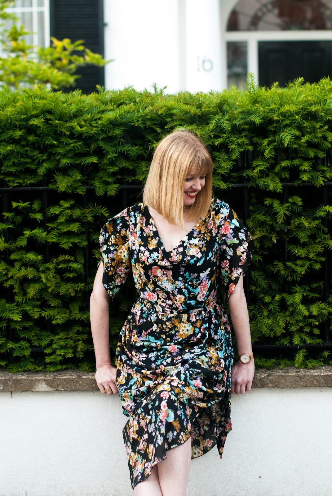 Floral draped vintage style dress with leopard print espadrilles, over 40 style, over 40 blogger