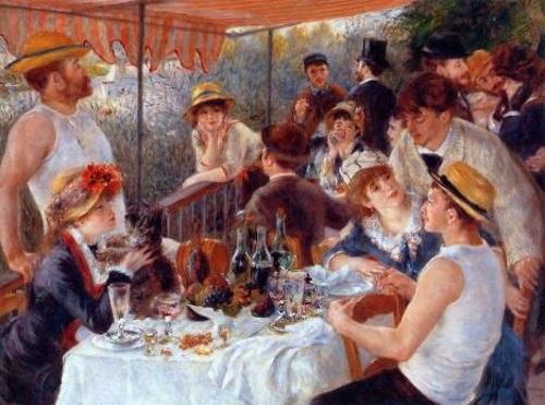 Amigos de Renoir relaxando em uma varanda ao longo do rio Sena, pintura de Renoir. #PraCegoVer