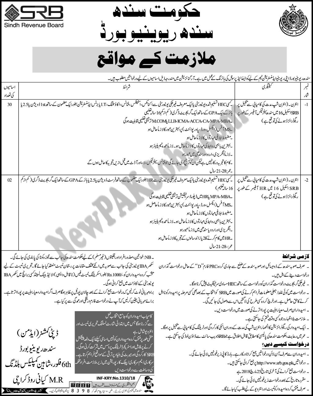 Latest Fresh Jobs in Sindh Revenue Board, Government of Sindh