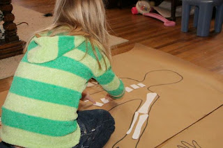 Kids Learn about the Skeleton with a Life Size Body Map