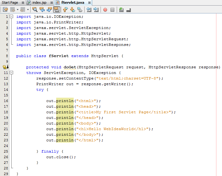 Basic Program using HttpServlet Class : Love Java Bytes