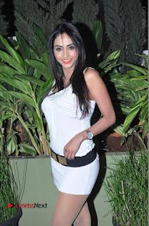 Actress Model Pooja Sri Stills in White Short Dress at F Club pre soft Launch  0052.JPG