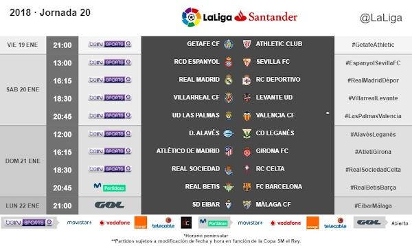 Liga Santander 2017/2018, horarios confirmados de la jornada 20