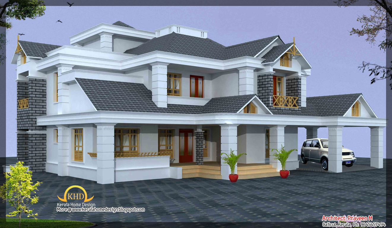 Luxury home design elevation 4500 sq ft kerala home for Kerala house design plans