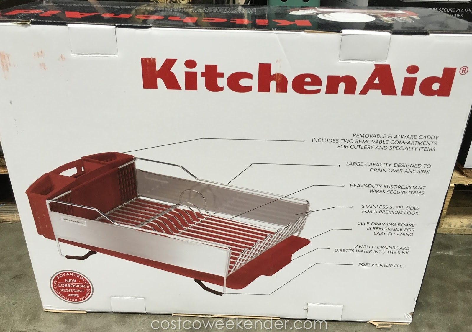 kitchenaid stainless steel dish drying rack costco weekender. Black Bedroom Furniture Sets. Home Design Ideas