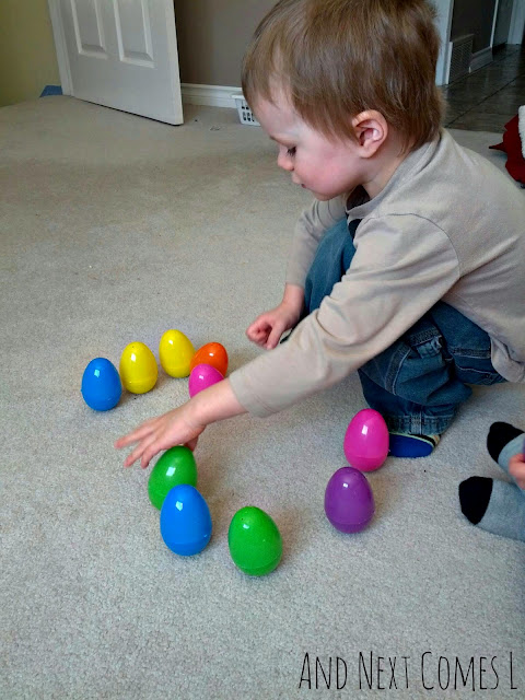 J making a number with wobbly Easter eggs from And Next Comes L