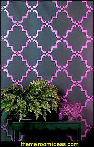 Moorish Trellis Wall Stencil for DIY Painting - Designer Wallpaper Look