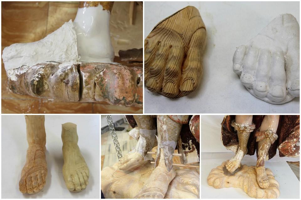 Realización de los nuevos pies para la escultura